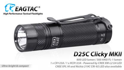 EagleTac D25C MK II Clicky CREE XM-L2 LED Pocket Torch (800 Lumens)-19755