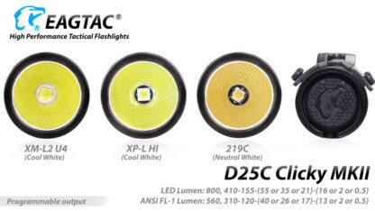 EagleTac D25C MK II Clicky CREE XM-L2 LED Pocket Torch (800 Lumens)-19753