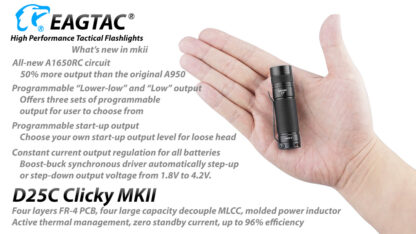 EagleTac D25C MK II Clicky CREE XM-L2 LED Pocket Torch (800 Lumens)-19752