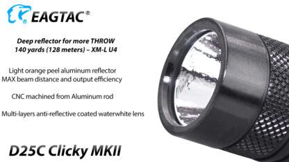 EagleTac D25C MK II Clicky CREE XM-L2 LED Pocket Torch (800 Lumens)-19749