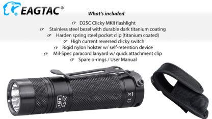 EagleTac D25C MK II Clicky CREE XM-L2 LED Pocket Torch (800 Lumens)-19748