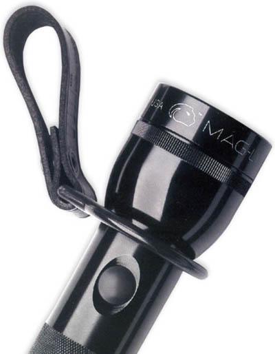MagLite D-Cell Torch Belt Loop Holder - Black Leather (Plain)-9357
