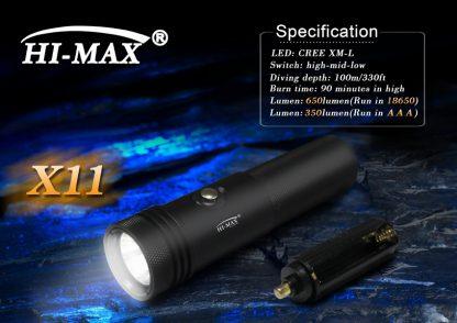Hi-Max X11 Rechargeable Dive Torch - 800 Lumens-9665