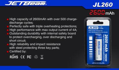 JETBeam 2600mAh 18650 Rechargeable Li-ion Battery-10063