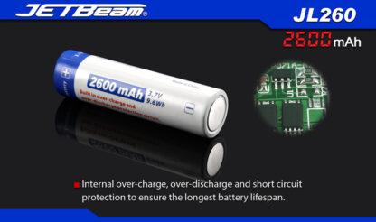 JETBeam 2600mAh 18650 Rechargeable Li-ion Battery-10070