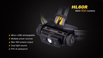 Fenix HL60R Rechargeable Headlamp (950 lumens)-10414