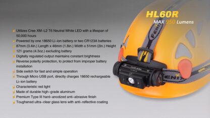 Fenix HL60R Rechargeable Headlamp (950 lumens)-10418