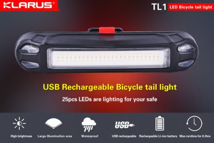 Klarus TL1 USB Rechargeable Bike Tail Light -10536