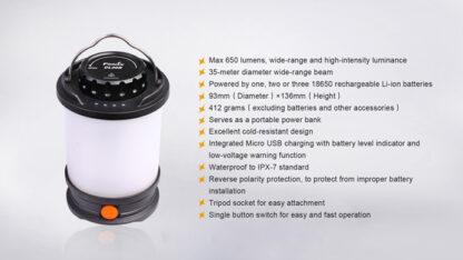 Fenix CL30R Rechargeable Camping Lantern (650 Lumens)-11089