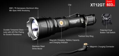 Klarus XT12GT Tactical Flashlight (1600 Lumens)-13079