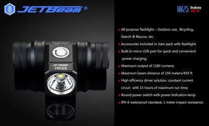 JETBeam HR25 USB Rechargeable Headlamp - 1180 Lumens -12448