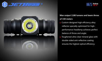 JETBeam HR25 USB Rechargeable Headlamp - 1180 Lumens -12452