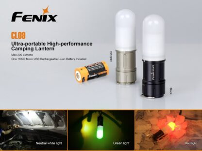 Fenix CL09 Compact Rechargeable Lantern (200 Lumens) - Olive or Black-12575