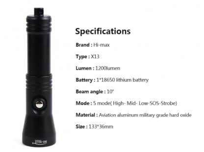Hi-Max X13 Rechargeable Dive Torch (1200 Lumens)-17331