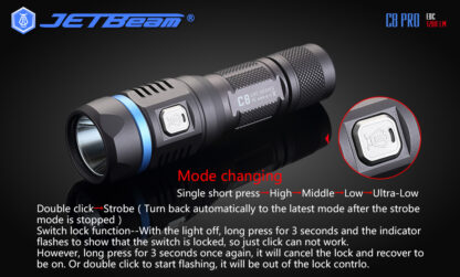 JETBeam C8 Pro USB rechargeable torch (1200 Lumens)-12492