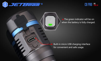 JETBeam C8 Pro USB rechargeable torch (1200 Lumens)-12490