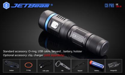 JETBeam C8 Pro USB rechargeable torch (1200 Lumens)-12508