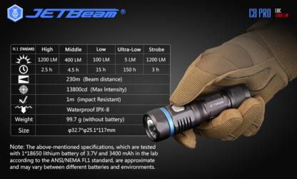 JETBeam C8 Pro USB rechargeable torch (1200 Lumens)-12507