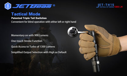 JETBeam TH15 Tactical Rechargeable Torch (1300 Lumens)-13104