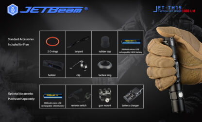JETBeam TH15 Tactical Rechargeable Torch (1300 Lumens)-13110