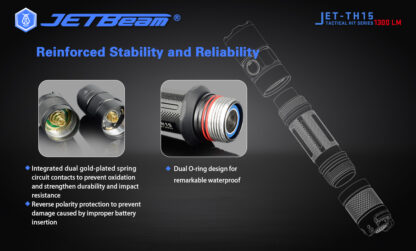 JETBeam TH15 Tactical Rechargeable Torch (1300 Lumens)-13108