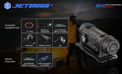 JETBeam HR30 Headlamp (950 lumens)-13406