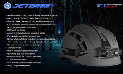 JETBeam HR30 Headlamp (950 lumens)-13403