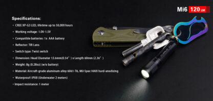 Klarus Mi6 1x AAA Keychain Flashlight 120LM - Black-13664