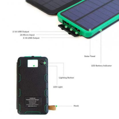 10,000mAh Portable 4-Fold Solar Dual-USB Charger and LED Light - Black w Blue accent-14393