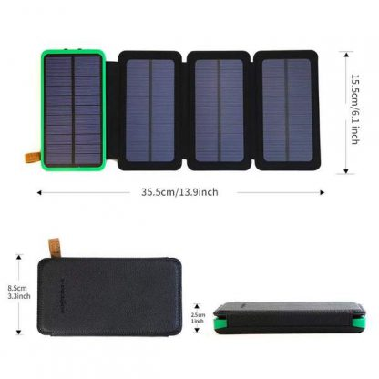 10,000mAh Portable 4-Fold Solar Dual-USB Charger and LED Light - Black w Blue accent-14387