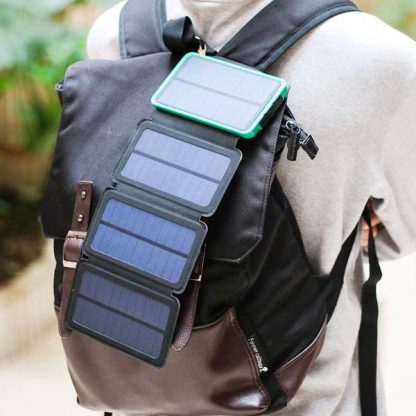 10,000mAh Portable 4-Fold Solar Dual-USB Charger and LED Light - Black w Blue accent-14394