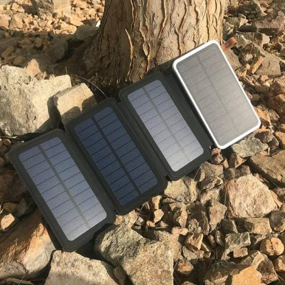 10,000mAh Portable 4-Fold Solar Dual-USB Charger and LED Light - Black w Blue accent-14390