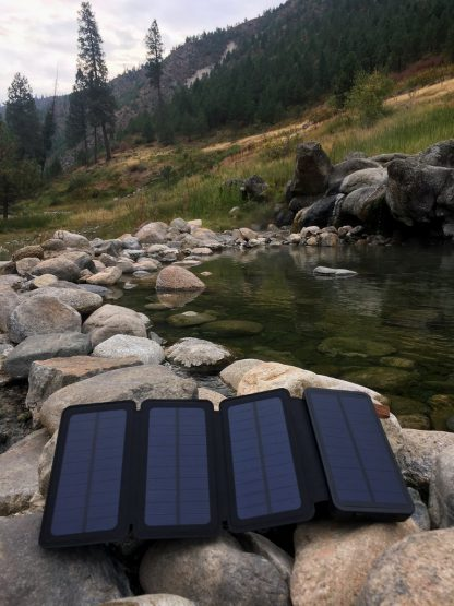 10,000mAh Portable 4-Fold Solar Dual-USB Charger and LED Light - Black w Blue accent-14398