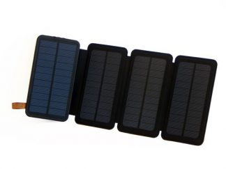 10,000mAh Portable 4-Fold Solar Dual-USB Charger and LED Light - Black w Blue accent-0