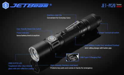 JETBeam Jet-PC20 USB Type-C Rechargeable Flashlight – 1800 Lumens-15065