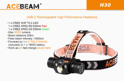 AceBeam H30 Red and Green Light 4000 lumen Rechargeable Headlamp-15150