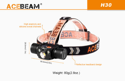 AceBeam H30 Red and Green Light 4000 lumen Rechargeable Headlamp-15144