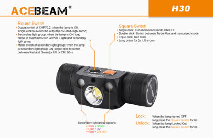 AceBeam H30 Red and Green Light 4000 lumen Rechargeable Headlamp-15147