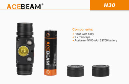 AceBeam H30 Red and Green Light 4000 lumen Rechargeable Headlamp-15149