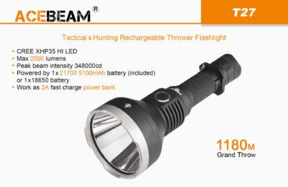 AceBeam T27 2500 Lumen Rechargeable Flashlight-15176