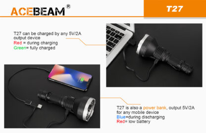 AceBeam T27 2500 Lumen Rechargeable Flashlight-15177