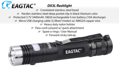 Eagletac DX3L 2500 Lumen Micro-USB Rechargeable Flashlight-15326
