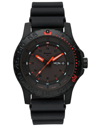 Traser P66 Red Combat Watch with Rubber Band-0