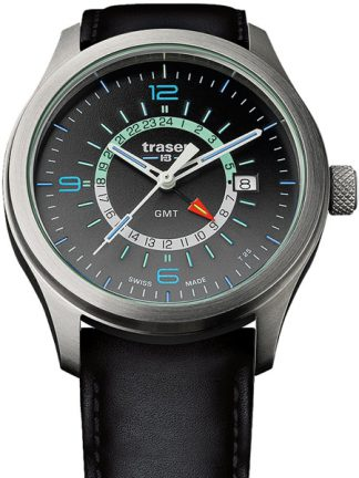 Traser P59 Aurora GMT Anthracite Watch with Leather Band-0