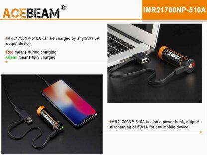 Acebeam IMR 21700 USB Rechargeable 5100mAh Li-ion Battery-15836
