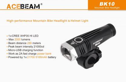 Acebeam 2000 lumen Bike Helmet Light-15931
