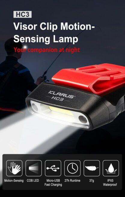 Klarus HC3 Visor Clip Motion-Sensing Headlamp-15762
