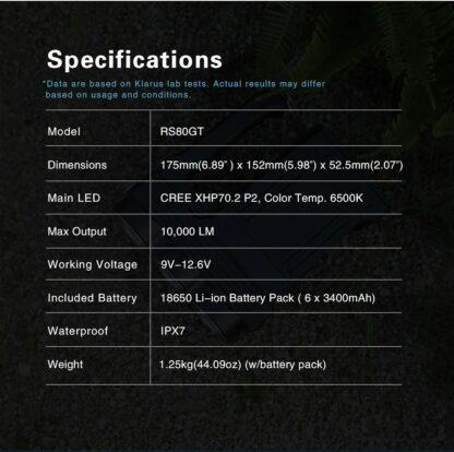 Klarus RS80GT 10000 Lumen Rechargeable Searchlight-16329
