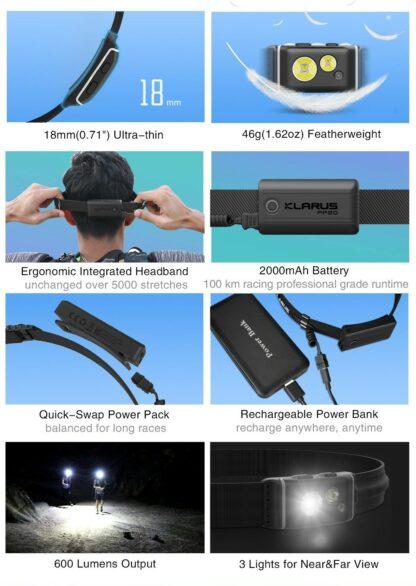 Klarus HR1 Plus Ultra-thin Rechargeable Headlamp - 600 Lumens - Ocean Teal-16572
