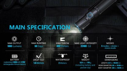 Olight M2R Pro Rechargeable Tactical Torch - 1800 Lumens -16705